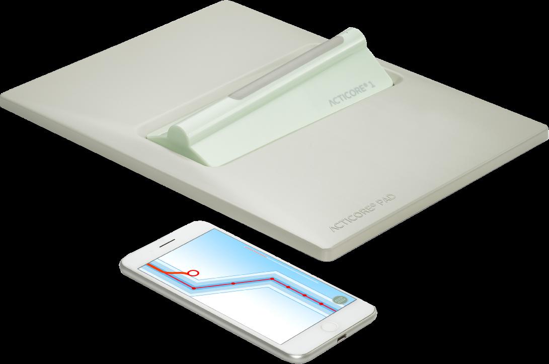 Gesamtübersicht der Inhalte. Sensor Seat, ACTICORE PAD und App von ACTICORE