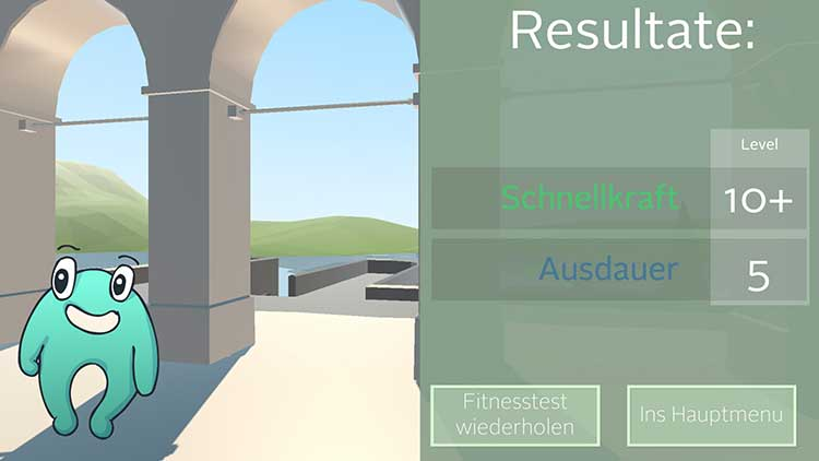 Screenshot der Resultateaus der App von ACTICORE