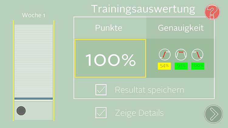 Screenshot der Trainingsauswertung der APP von ACTICORE
