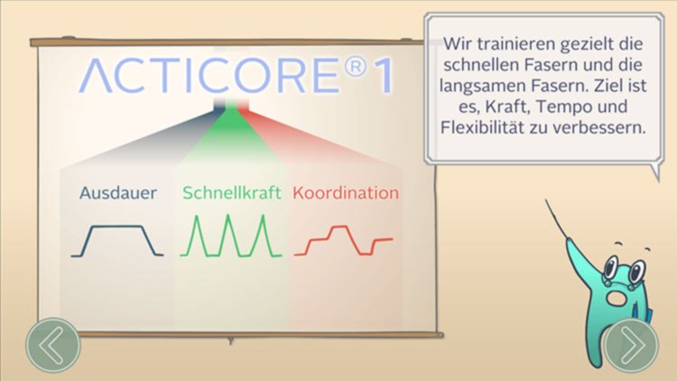 Trainingsübersicht in der APP von ACTICORE.